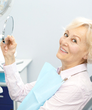 Senior woman in dental chair