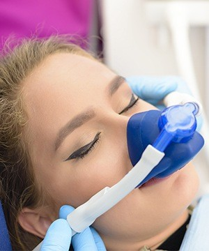 Patient with nitrous oxide nasal mask
