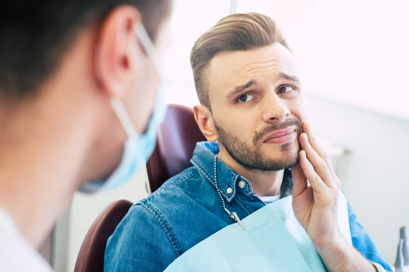 Patient looking concerned at dental appointment